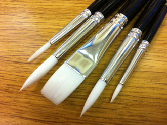 Set of Five Synthetic Brushes suitable for Glass Painting